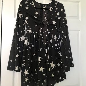 Black with white star print boohoo dress